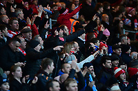 Lincoln City fans celebrate their teams goal, scored by Lee Frecklington<br /> <br /> Photographer Chris Vaughan/CameraSport<br /> <br /> The EFL Sky Bet League Two - Lincoln City v Notts County - Saturday 13th January 2018 - Sincil Bank - Lincoln<br /> <br /> World Copyright &copy; 2018 CameraSport. All rights reserved. 43 Linden Ave. Countesthorpe. Leicester. England. LE8 5PG - Tel: +44 (0) 116 277 4147 - admin@camerasport.com - www.camerasport.com