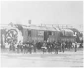 RGS rotary #2 having plowed snow has arrived at Antonito propelled by five C-16 engines.  Many people are standing in front of rotary for the unknown photographer.<br /> RGS  Antonito, CO  2/1916
