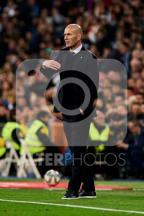 Zinedine Zidane coach of Real Madrid during La Liga match between Real Madrid and RC Celta de Vigo at Santiago Bernabeu Stadium in Madrid, Spain. February 16, 2020. (ALTERPHOTOS/A. Perez Meca)