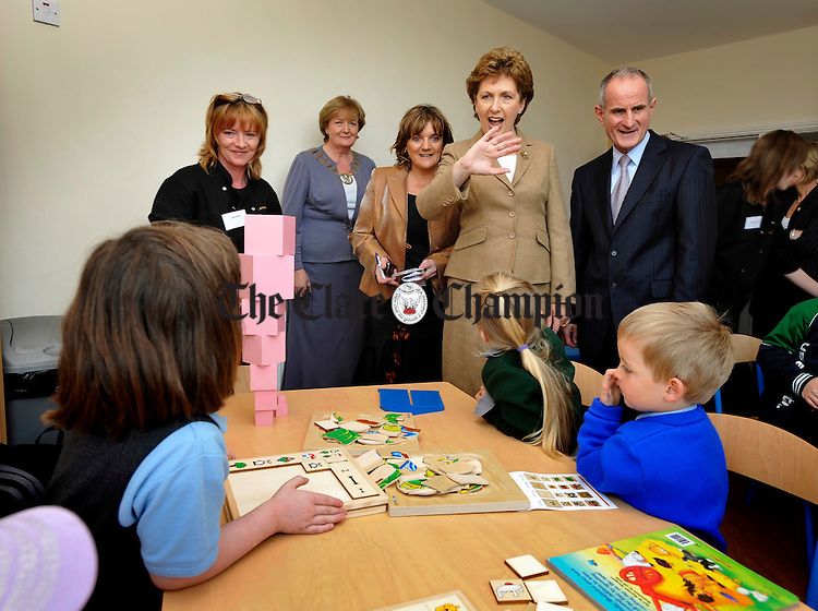 The president Mrs Mc Aleese and her husband Martin meet  young local children at the official opening of the Spraoi Family Resource Centre at Miltown Malbay. Photograph by John Kelly.