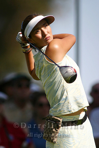 March 28, 2004; Rancho Mirage, CA, USA;  Grace Park tees off during the final round of the LPGA Kraft Nabisco golf tournament held at Mission Hills Country Club.  Park won her first major tournament by one stroke over Aree Song with an overall score of 11 under par 277.  She finished the day with a 3 under par 69.<br />Mandatory Credit: Photo by Darrell Miho <br />&copy; Copyright Darrell Miho