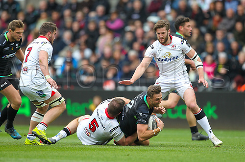29th April 2017, Liberty Stadium, Swansea, Wales; Pro12 Rugby, Ospreys versus Ulster; Ospreys Ashley Beck is tackled by Ulsters Alan O'Connor