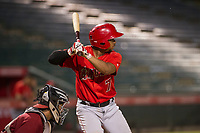 AZL Angels catcher Manuel Herazo (7) at bat against the AZL Diamondbacks on August 20, 2017 at Diablo Stadium in Tempe, Arizona. AZL Angels defeated the AZL Diamondbacks 19-1. (Zachary Lucy/Four Seam Images)