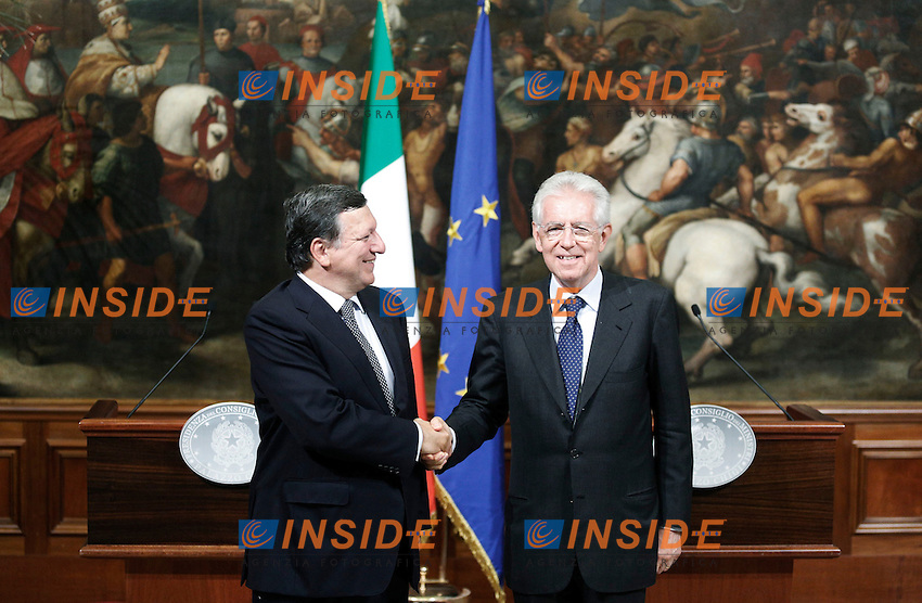 Jose Manuel Barroso. e Mario Monti.Roma 06/09/2012 Incontro tra il Presidente del Consiglio Italiano, e il Presidente della Commissione Europea..Foto Serena Cremaschi Insidefoto