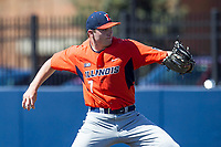 Illinois Fighting Illini pitcher Ty Weber (7) delivers a pitch to the plate against the Michigan Wolverines during the NCAA baseball game on April 8, 2017 at Ray Fisher Stadium in Ann Arbor, Michigan. Michigan defeated Illinois 7-0. (Andrew Woolley/Four Seam Images)