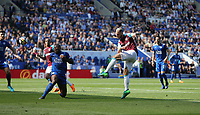 West Ham United's Marko Arnautovic hits the bar with a first half shot<br /> <br /> Photographer Rob Newell/CameraSport<br /> <br /> The Premier League - Leicester City v West Ham United - Saturday 5th May 2018 - King Power Stadium - Leicester<br /> <br /> World Copyright &copy; 2018 CameraSport. All rights reserved. 43 Linden Ave. Countesthorpe. Leicester. England. LE8 5PG - Tel: +44 (0) 116 277 4147 - admin@camerasport.com - www.camerasport.com