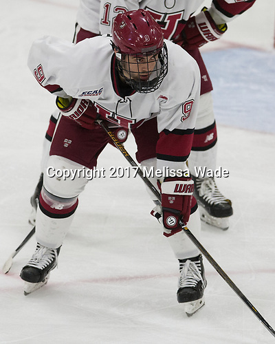 Luke Esposito (Harvard - 9) - The Harvard University Crimson tied the visiting Yale University Bulldogs 1-1 on Saturday, January 21, 2017, at the Bright-Landry Hockey Center in Boston, Massachusetts.