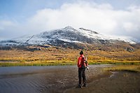 Hiker stands on shore of Abeskojavri lake in autumn, Kungsleden trail, Lapland, Sweden
