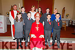 Pupils from Curraheen NS making their confirmation in St James Church Glenbeigh on Monday were front l-r; Samantha Riordan, Darragh Blennerhassett, Bishop Ray Browne, Aodhán Roche, Sean Quirke, back l-r; Fr. Jerry Keane, Jack McGillicuddy, Catríona O'Shea(teacher). Alana Lynch, Darragh Houlihan & Evelyn O'Shea.