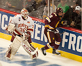 Tanner Jaillet (DU - 36), Kyle Osterberg (UMD - 8) - The University of Denver Pioneers defeated the University of Minnesota Duluth Bulldogs 3-2 to win the national championship on Saturday, April 8, 2017, at the United Center in Chicago, Illinois.