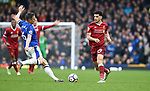 Dominic Solanke of Liverpool is challenged by Phil Jagielka of Everton during the premier league match at Goodison Park Stadium, Liverpool. Picture date 7th April 2018. Picture credit should read: Robin Parker/Sportimage