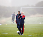 Gordon Strachan in the early morning fog at Mar Hall