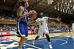 17 November 2012: Duke's Alexis Jones (2) guards an inbounds play by Presbyterian's Noelle Carter (1). The Duke University Blue Devils played the Presbyterian College Blue Hose at Cameron Indoor Stadium in Durham, North Carolina in an NCAA Division I Women's Basketball game. Duke won the game 84-45.