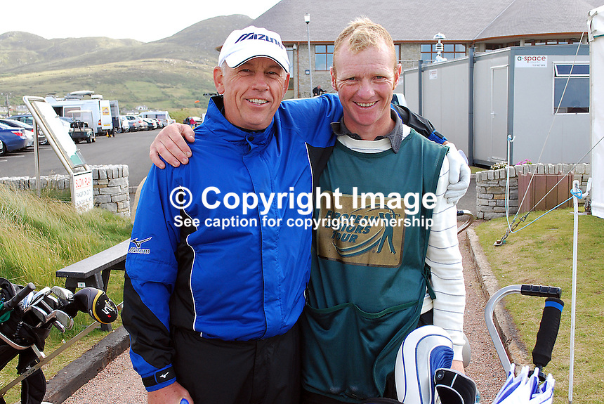 Robert Cameron, professional golfer, competitor, Irish Seniors Open, Ballyliffin Golf Club, Co Donegal, Ireland, with caddy, 200806190261..Copyright Image from Victor Patterson, 54 Dorchester Park, Belfast, UK, BT9 6RJ..Tel: +44 28 9066 1296.Mob: +44 7802 353836.Voicemail +44 20 8816 7153.Skype: victorpattersonbelfast.Email: victorpatterson@mac.com.Email: victorpatterson@ireland.com (back-up)..IMPORTANT: If you wish to use this image or any other of my images please go to www.victorpatterson.com and click on the Terms & Conditions. Then contact me by email or phone with the reference number(s) of the image(s) concerned.