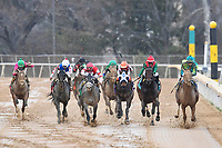 HOT SPRINGS, AR - FEBRUARY 19: Jockey Corey Lanerie #3 (far right) riding Hawaakom and passing the field to win the Razorback Handicap at Oaklawn Park on February 19, 2018 in Hot Springs, Arkansas. (Photo by Ted McClenning/Eclipse Sportswire/Getty Images)