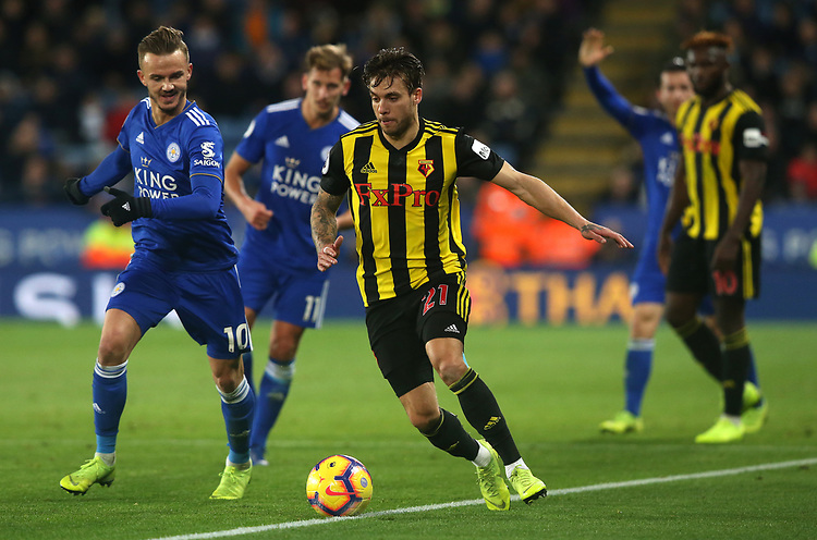 Watford's Kiko Femenia battles with Leicester City's James Maddison <br /> <br /> Photographer Stephen White/CameraSport<br /> <br /> The Premier League - Leicester City v Watford - Saturday 1st December 2018 - King Power Stadium - Leicester<br /> <br /> World Copyright © 2018 CameraSport. All rights reserved. 43 Linden Ave. Countesthorpe. Leicester. England. LE8 5PG - Tel: +44 (0) 116 277 4147 - admin@camerasport.com - www.camerasport.com