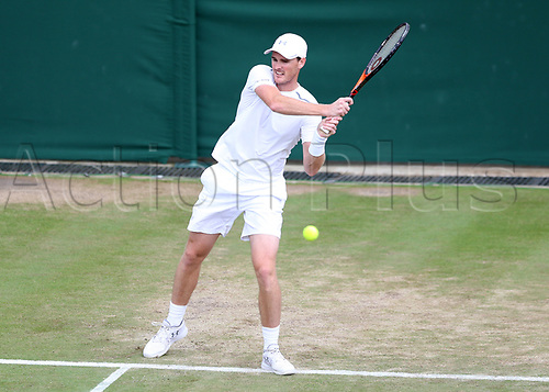 July 11th 2017, All England Lawn Tennis and Croquet Club, London, England; The Wimbledon Tennis Championships, Day 8; Jamie Murray (GBR) hits a forehand return to Roman Jebavy (CZE) during Martina Hingis (CHE) and Jamie Murray (GBR) versus Lucie Hradecka (CZE) and Roman Jebavy (CZE)