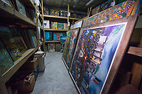 Haiti, Port-au-Prince. Artisan business, Papillon. Galerie Nader Petion-ville. Nader Art Gallery. Georges Nader, managed to save and restore 15,000 paintings from his collection after the 2010 earthquake.