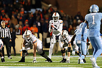 CHAPEL HILL, NC - NOVEMBER 02: Bryce Perkins #3  of the University of Virginia waits for the snap during a game between University of Virginia and University of North Carolina at Kenan Memorial Stadium on November 02, 2019 in Chapel Hill, North Carolina.
