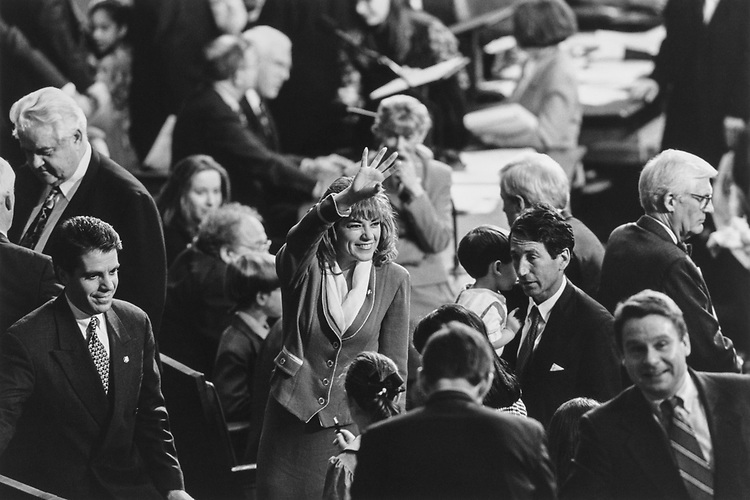 Rep. Loretta Sanchez, D-Calif., waving to someone in the gallery. Jan. 7, 1997. (Photo by Maureen Keating/ CQ Roll Call via Getty Images)