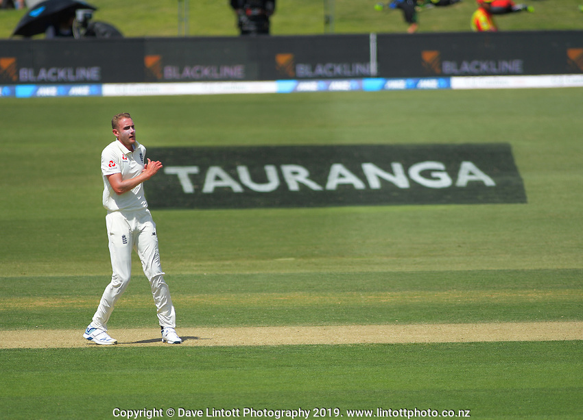 England's Stuart Broad bowls during day two of the international cricket 1st test match between NZ Black Caps and England at Bay Oval in Mount Maunganui, New Zealand on Friday, 22 November 2019. Photo: Dave Lintott / lintottphoto.co.nz
