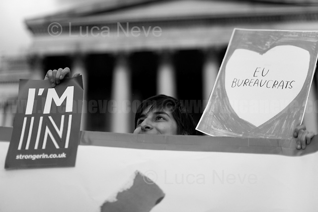 """""""Yes to Europe Rally - London's Trafalgar Square"""".<br /> <br /> London, March-July 2016. Reporting the EU Referendum 2016 (Campaign, result and outcomes) observed through the eyes (and the lenses) of an Italian freelance photojournalist (UK and IFJ Press Cards holder) based in the British Capital with no """"press accreditation"""" and no timetable of the main political parties' events in support of the RemaIN Campaign or the Leave the EU Campaign.<br /> On the 23rd of June 2016 the British people voted in the EU Referendum... (Please find the caption on PDF at the beginning of the Reportage).<br /> <br /> For more photos and information about this event please click here: http://lucaneve.photoshelter.com/gallery/21-06-2016-Yes-to-Europe-Rally-Londons-Trafalgar-Square/G0000J2t4RsbeZ2E/C0000GPpTqAGd2Gg<br /> <br /> For more information about the result please click here: http://www.bbc.co.uk/news/politics/eu_referendum/results"""