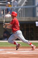 Brett Lilley (9) of the Johnson City Cardinals follows through on his swing at Dan Daniels Park in Danville, VA, Sunday July 27, 2008.