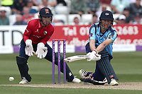 Gary Ballance in batting action for Yorkshire as Adam Wheater looks on from behind the stumps during Essex Eagles vs Yorkshire Vikings, Royal London One-Day Cup Play-Off Cricket at The Cloudfm County Ground on 14th June 2018
