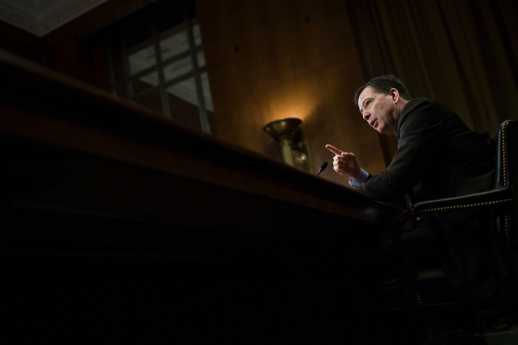"""UNITED STATES - MAY 3: FBI Director James Comey testifies before a Senate Judiciary Committee hearing in Dirksen Building titled """"Oversight of the Federal Bureau of Investigation,"""" on May 3, 2017. (Photo By Tom Williams/CQ Roll Call)"""