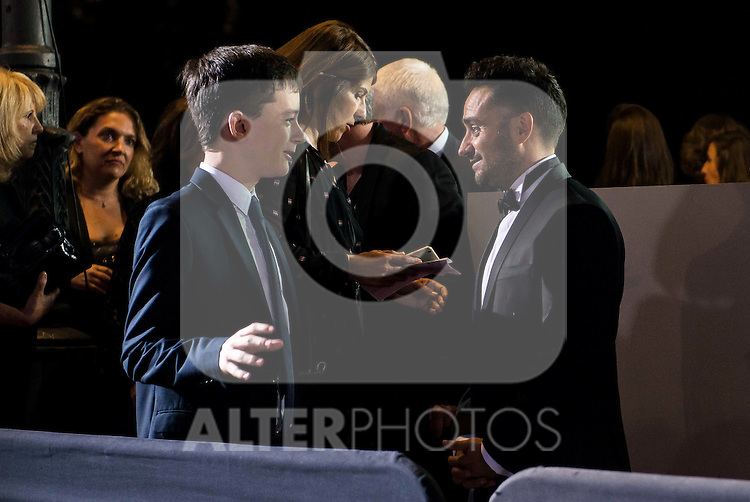 "Lewis MacDougall and the director of the film J.A. Bayona during the premiere of the spanish film ""Un Monstruo Viene a Verme"" of J.A. Bayona at Teatro Real in Madrid. September 26, 2016. (ALTERPHOTOS/Borja B.Hojas)"