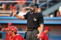 Umpire Jacob Dallas during a NY-Penn League game between the Batavia Muckdogs and Williamsport Crosscutters at Dwyer Stadium on August 24, 2012 in Batavia, New York.  Williamsport defeated Batavia 7-4.  (Mike Janes/Four Seam Images)