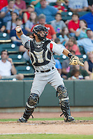 Carolina Mudcats catcher Jeremy Lucas (17) throws the ball back to his pitcher during the game against the Winston-Salem Dash at BB&T Ballpark on June 6, 2014 in Winston-Salem, North Carolina.  The Mudcats defeated the Dash 3-1.  (Brian Westerholt/Four Seam Images)