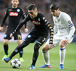 Real Madrid's Alvaro Morata (r) and SSC Napoli's Jose Callejon during Champions League 2016/2017 Round of 16 1st leg match. February 15,2017. (ALTERPHOTOS/Acero)