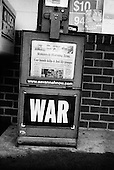 Savanah, Georgia.USA.2003..American Newspaper boxes advertise the war in Iraq.