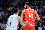 Real Madrid's Rudy Fernandez and Valencia Basket's Bojan Dubljevic during 2017 King's Cup match between Real Madrid and Valencia Basket at Fernando Buesa Arena in Vitoria, Spain. February 19, 2017. (ALTERPHOTOS/BorjaB.Hojas)