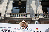Andres Manuel Lopez Obrador, an opposition presidential candidate of MORENA party, holds a speech to supporters at Tlalpan's Municipality square during his campaign rally in Mexico. National elections will be hold on July 1.