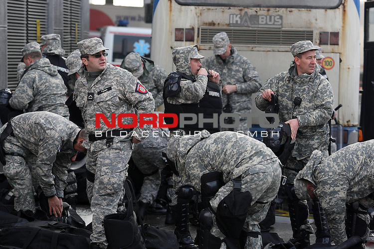 27.01.2012., Belgrade, Serbia - 10th Men's European Handball Championship. Serbian police around Belgrade Arena after the announcement that on the semi final mathes arrives 1000-2000 Croatian fans. <br /> <br /> Foto &copy;  nph / PIXSELL / Antonio Bronic