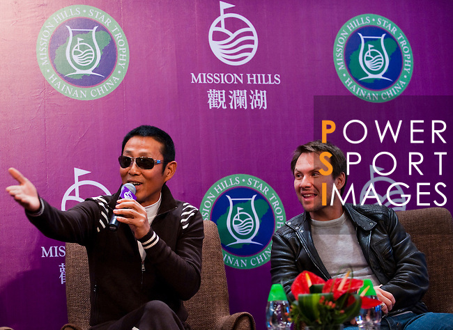 HAIKOU, CHINA - OCTOBER 27:  Chinese actor Chan Dao Ming and Hollywood super star actor Christian Slater of USA attend the opening  press conference of the Mission Hills Star Trophy on October 27, 2010 in Haikou, China. The Mission Hills Star Trophy is Asia's leading leisure liflestyle event and features Hollywood celebrities and international golf stars. Photo by Victor Fraile / The Power of Sport Images