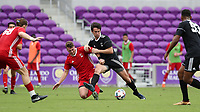 Orlando, Florida - Saturday January 13, 2018: Marcelo Acuna and Cory Brown. Match Day 1 of the 2018 adidas MLS Player Combine was held Orlando City Stadium.