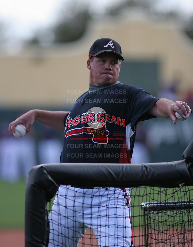Alan Butts of the Atlanta Braves vs. the St. Louis Cardinals March 16th, 2007 at Champion Stadium in Orlando, FL during Spring Training action.  Photo By Mike Janes/Four Seam Images