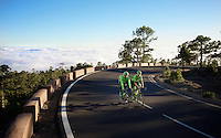 Matti Breschel (DEN/Cannondale) &amp; Jack Bauer (NZL/Cannondale) climbing above the clouds up the infamous Tiede climb at training camp on Tenerife <br /> <br /> february 2016
