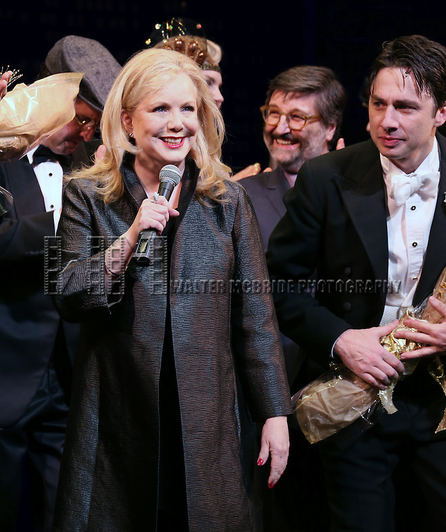 "Director Susan Stroman, Zach Braff and Company during the Broadway Opening Night Performance Curtain Call for ''Bullets Over Broadway'""at the St. James Theatre on April 10, 2014 in New York City."