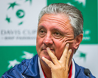 The Hague, The Netherlands, September 12, 2017,  Sportcampus , Davis Cup Netherlands - Chech Republic, Pre Draw press conference, Chech  team, Captain Jaroslav Navratil (CZE)<br /> Photo: Tennisimages/Henk Koster