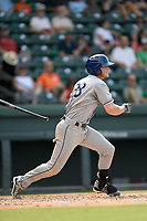 Shortstop Taylor Snyder (28) of the Asheville Tourists bats in a game against the Greenville Drive on Sunday, June 3, 2018, at Fluor Field at the West End in Greenville, South Carolina. Greenville won, 7-6. (Tom Priddy/Four Seam Images)