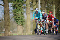 With 2 laps to go, Laurens De Vreese (BEL/Astana) &amp; compagnons still have 40&quot; over the peloton as they hit the local cobbled section<br /> <br /> 103rd Scheldeprijs 2015