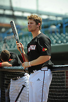 University of Louisville Cardinals infielder Danny Rosenbaun (8) before a game against the Temple University Owls at Campbell's Field on May 10, 2014 in Camden, New Jersey. Temple defeated Louisville 4-2.  (Tomasso DeRosa/ Four Seam Images)