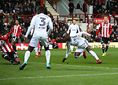 2nd December 2017, Griffen Park, Brentford, London; EFL Championship football, Brentford versus Fulham; Neeskens Kebano of Fulham shoots to score his sides 1st goal in the 25th minute to make it 1-0