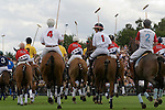 Cartier International Polo, Windsor Great Park. Junior polo players parade around the ring. England 2006.