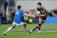 Jérôme Porical of Stade Francais hands off Andrew Conway of Leinster  during the Amlin Challenge Cup Final between Leinster Rugby and Stade Francais at the RDS Arena, Dublin on Friday 17th May 2013 (Photo by Rob Munro).
