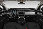 Stock photo of straight dashboard view of a 2020 Jaguar XF Premium 4 Door Sedan